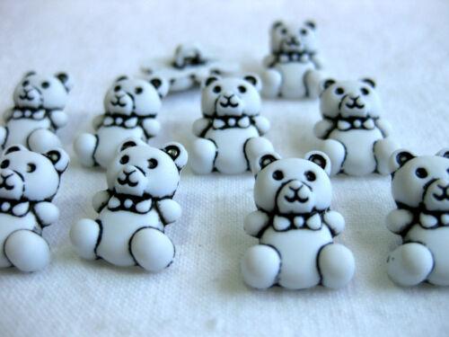 bianco circa 12 x 16mm k106.6 Teddy 10 piccole ORSETTI-Bottoni orso