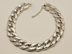 Women/'s Silver Gold and Black Chain Link Chunky Choker Necklace