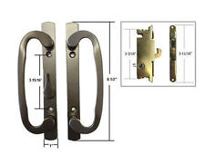 "Patio Door Handle Set with Mortise Lock, Bronze, Non-Keyed, 3-15/16"" Screw Holes"