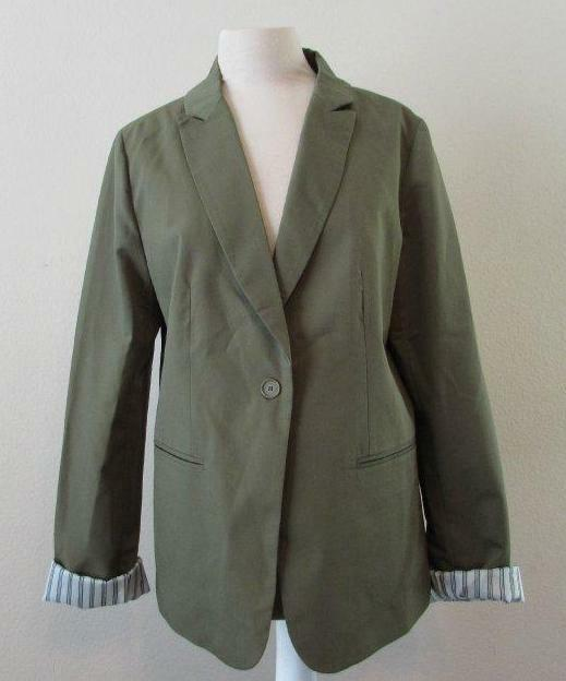 TULLE womens XL Anthropologie olive green 1 button lined cotton blend blazer