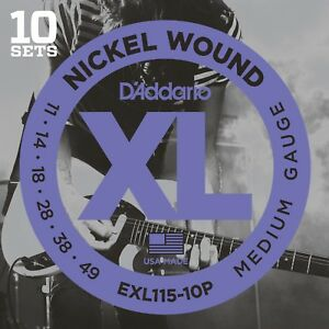 10-Sets-D-039-Addario-EXL115-10P-Electric-Guitar-Strings-11-49-Medium-Pack