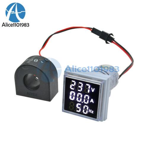 AC0-100A 60-500V 22mm 3 in 1 LED Digital Voltmeter Ammeter Hertz Meter Indicator