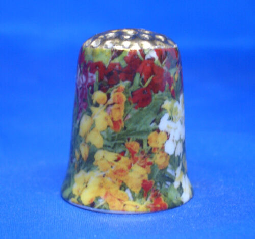 Gold Top Birchcroft China Thimble Free Dome Box Wallflowers