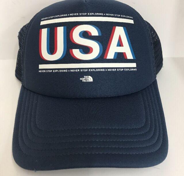 Women s North Face USA Trucker Hat Snap Back Ball Cap Red White Navy Blue  NEW 44e92556b5c