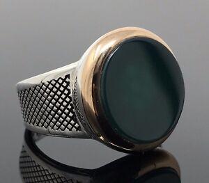 Ring F 490 AU Smoked QuartzGreen Agate