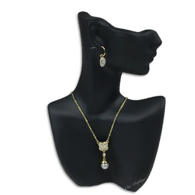 """9""""H PENDANT DISPLAY STAND JEWELRY BUST POLY RESIN EARRING DISPLAY PARTIAL FACE"""