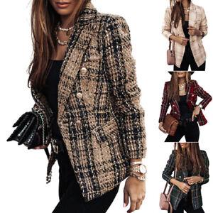 Damen Business Langarm Anzug Jacke Blazer Plaid Slim Langarm Mantel Freizeit.