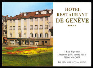 tour-Prospekt-Macon-71000-Frankreich-Hotel-Restaurant-de-Geneve-um-1980