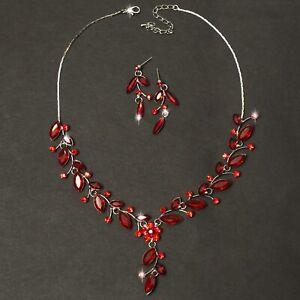 Schmuckset-Collier-Halskette-Blume-Flowers-Rot-Ohrringe-Strass-Silberfarben-Neu