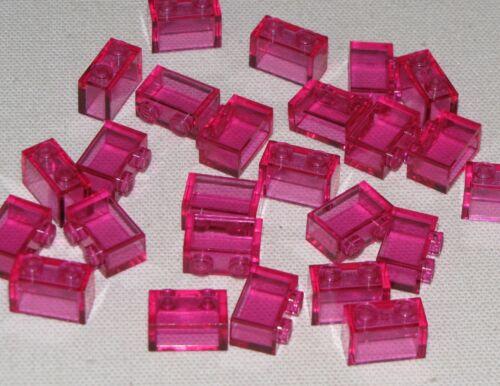 LEGO LOT OF 25 NEW TRANSPARENT DARK PINK 1 X 2 BRICKS BLOCKS PIECES