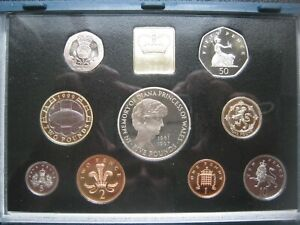 UK British 1999 Proof 9 Coin Set Collection: Penny - £5 Pound by Royal Mint COA