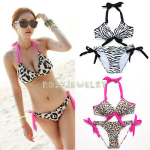 Sexy-Tiger-Zebra-Leo-Haut-Damen-Bikini-Sets-Pusch-up-Badeanzug-Bandeau-S-M-L