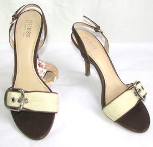 GUESS Sandali tacchi 9.5 cm pelle marrone e tela crema 39 OTTIME CONDIZIONI