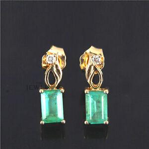 14K-Gold-Genuine-Diamond-And-Emerald-Gemstone-Wedding-Stud-Earrings-Fine-Jewelry