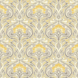 Silver Grey Yellow Retro Wallpaper Damask Vintage Flora Nouveau