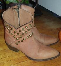 Sundance Catalog Matisse Cowboy boot ankle booties Studded tan Brown 9.5 $268