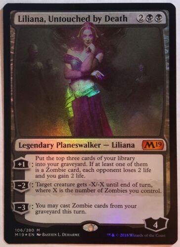 1x FOIL Liliana Untouched by Death Near Mint Magic mythic Core Set 2019 M19 x1