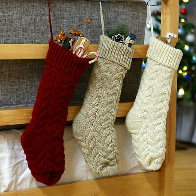 Cable Knit Christmas Stockings.Christmas Stockings Cable Knit Xmas Candy Socks Hangers Holiday Gift Home Decor Ebay