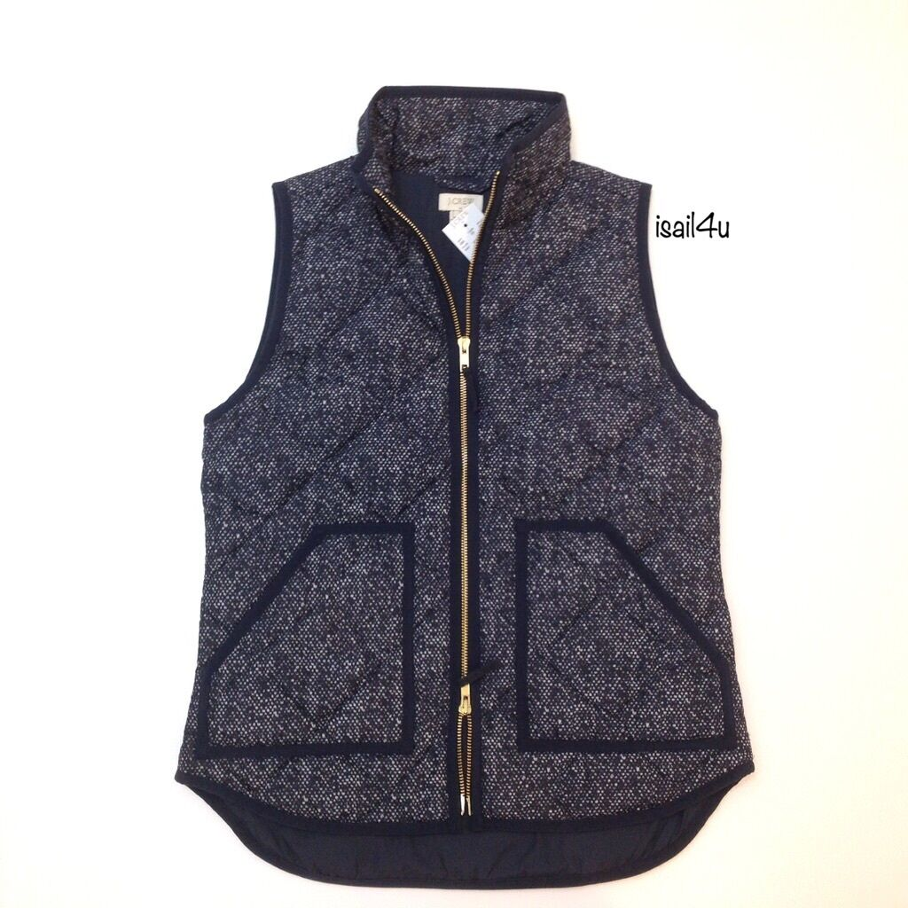 J. Crew Factory Excursion Quilted Printed Puffer Puffer Puffer Vest NWT Navy Size  XS, M 65a976