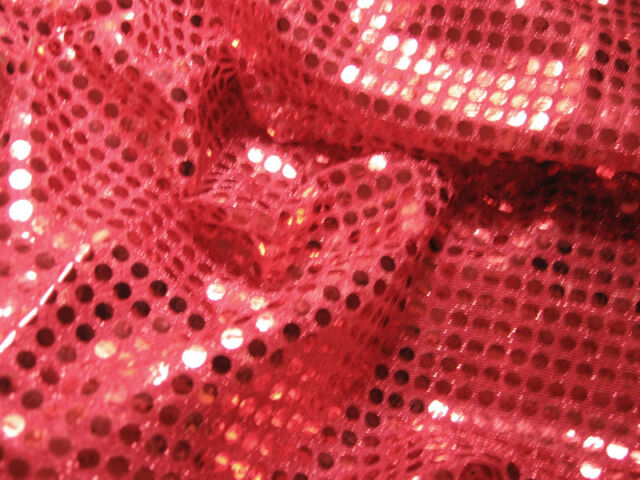 G06 Shiny Red Sequin Fabric Fashion Material by Meter