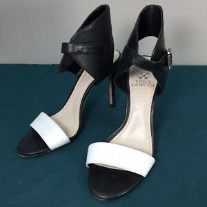Used-Vince-Camuto-Black-amp-White-Leather-Women-039-s-Ankle-Wrap-Open-Toe-Heels-sz-7-M