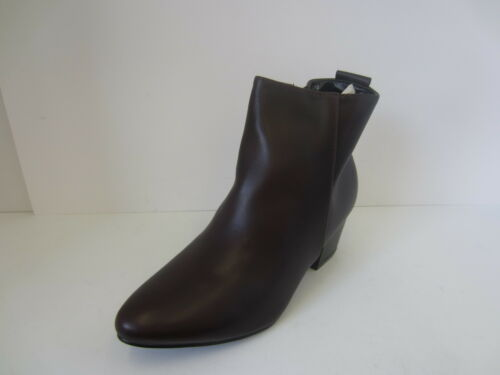 Ladies Spot On Black//Burgandy Block Heel Ankle Boots Sizes 3-8 F50360