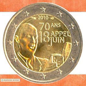 Sondermünzen Frankreich 2 Euro Münze 2010 Appell Von De Gaule