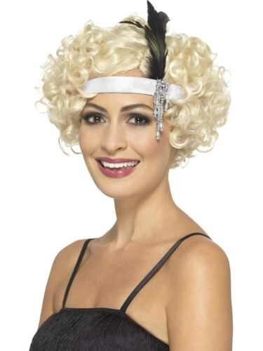 Adult 1920s Flapper Satin Charleston Headband with Feather Costume Accessory