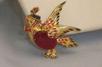 Vintage Gold Tone Enamel Bird With Hat Brooch