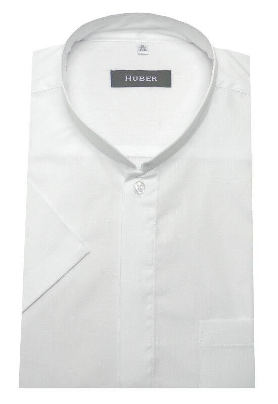HUBER Stehkragen Kurzarm Hemd white Asia Japan Kragen HU-0591 Regular Fit