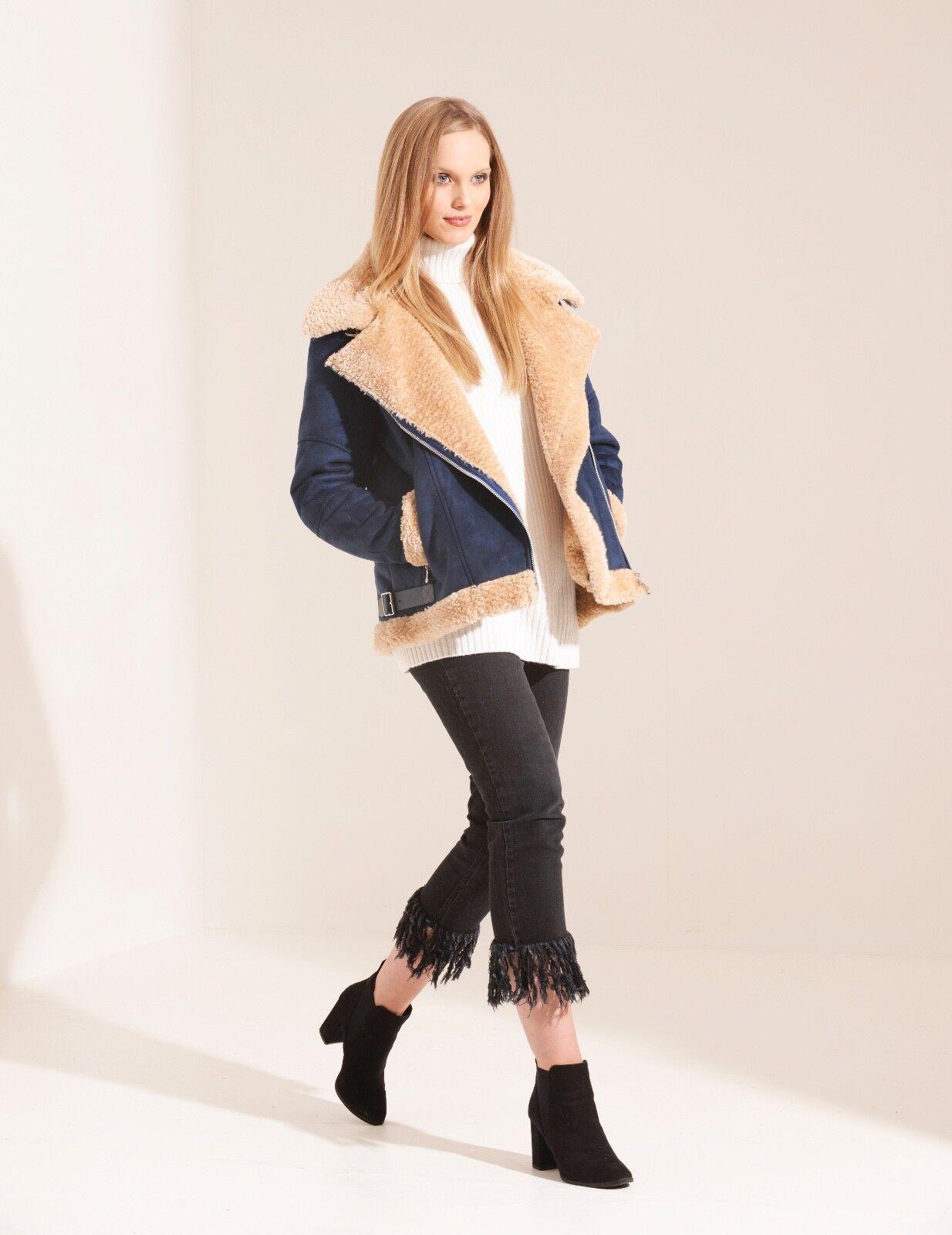 Cochebón Azul Marino  Shearling aviador de moda para mujer Chaqueta de motorista  ganancia cero