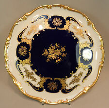 Prunk Platte Reichenbach Gold kobalt Goldornament Rosen Barock 30cm Tortenplatte