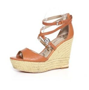fbfb63dfeed Sam Edelman Women s Brown Leather Turner Platform Wedge Sandal 3424 ...