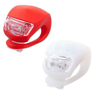 2 LED SILICONE MOUNTAIN BIKE BICYCLE FRONT REAR LIGHTS SET PUSH BATTERY INCLUDED