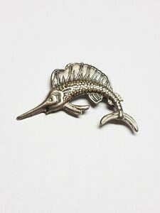 Vintage-Sterling-Silver-Swordfish-Marlin-Brooch-Pin