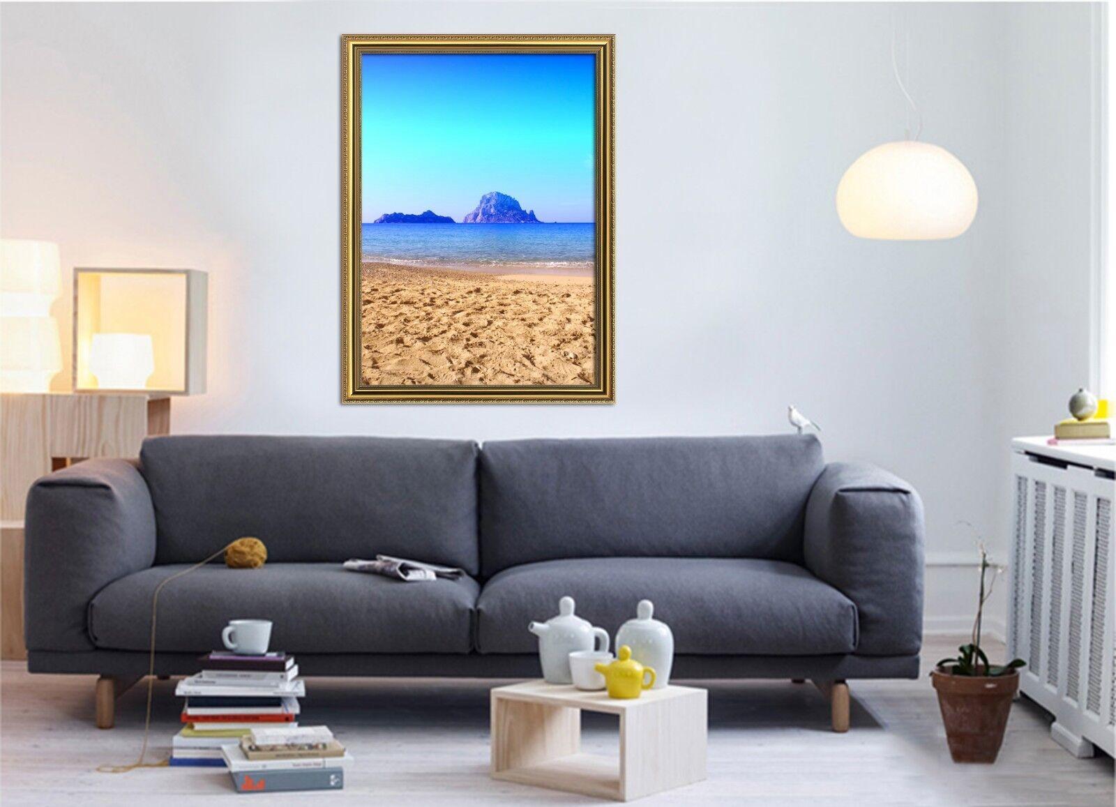 3D plage Footimpressions 57 Framed affiche accueil Decor impression Painting Art AJ AU