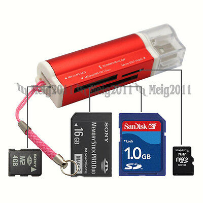 USB2.0 All in1 Memory Card Reader for Micro SD SDHC MS TF T-Flash M2 SD MMC 662R