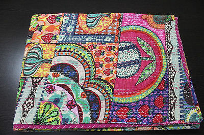Indian Handmade Quilt Kantha Blanket Bedspread Throw Cotton Blanket Gudri Queen