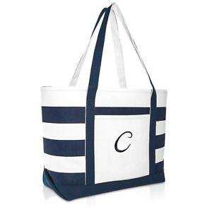 Details About Dalix Premium Beach Bags Striped Navy Blue Zippered Tote Bag Monogrammed A Z