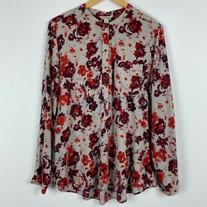 Lucky-Brand-Large-Gray-Floral-Top-Shirt-Blouse-Womens-Long-Sleeve-Pullover-Sheer