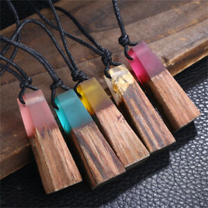 605a9f0720a135 Image is loading Eyecatching-Charm-Trapezoidal-Resin-Wood-Necklace-Handmade- Resin-