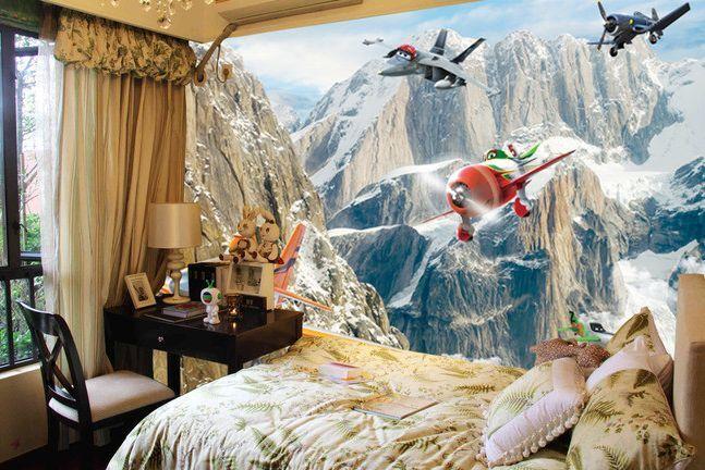 3D Berge, Flugzeug 2167 Fototapeten Wandbild Fototapete BildTapete Familie