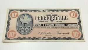 1976-Canadian-Tire-10-Ten-Cents-CTC-S5-C-Circulated-Money-Olympic-Banknote-D210