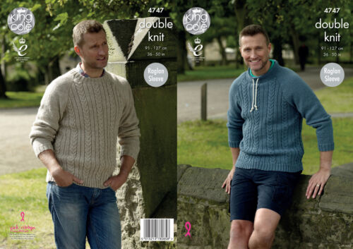King Cole Mens Double Knitting Pattern Raglan Round or Stand Up Neck Jumper 4747