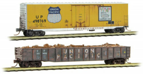 Micro-Trains MTL N-Scale 50ft Box Car//Gondola 2-Pack Union Pacific//UP Weathered