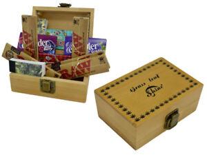 Shine-Grassleaf-Wooden-Rolling-Box-MEDIUM-Gift-Set-Raw-Roaches-Rizla