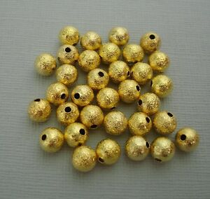 6 mm 50 Beads. Gold Spacer Beads Round Stardust Gold Beads