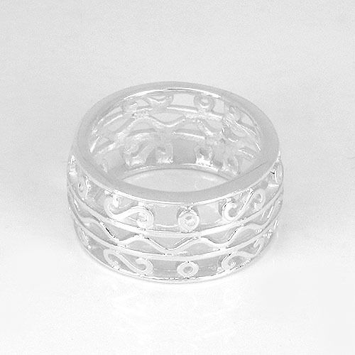 sr278 Solid .925 Sterling Silver Filigree Band Ring