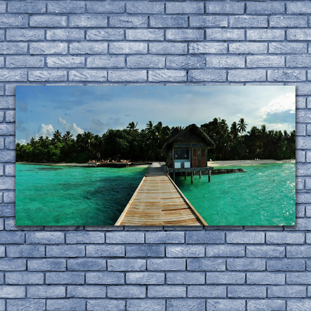 Photo sur toile Image Mer Tableau Impression 140x70 Architecture Mer Image Pont Arbres 12050b