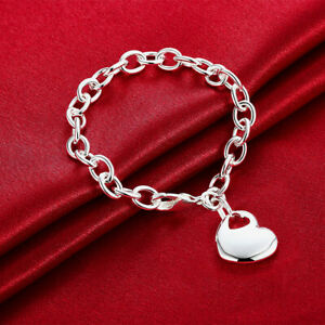 925-Sterling-Silver-Filled-Women-039-s-Solid-Love-Heart-Charm-Bracelet-Bangle-Gift
